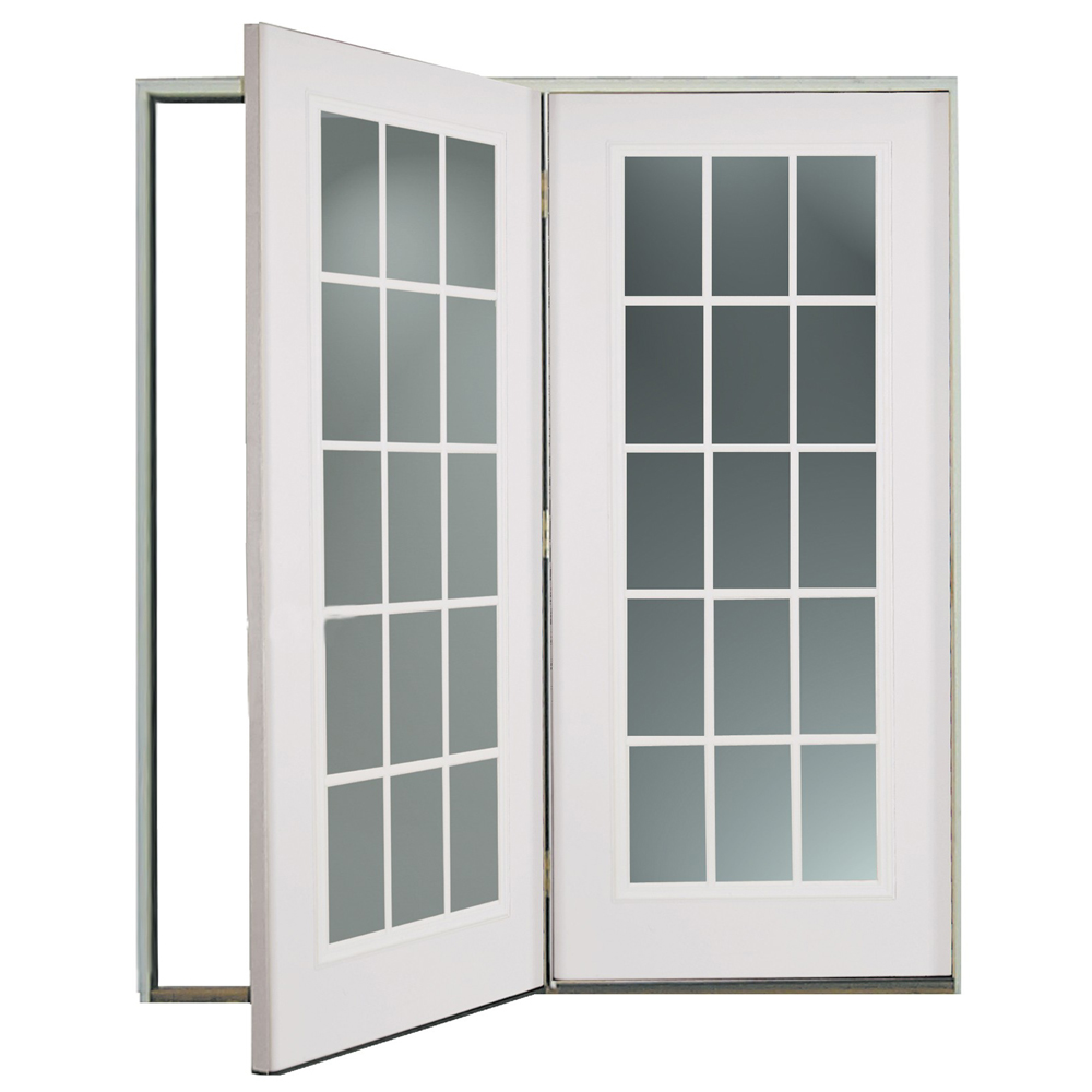 Shop reliabilt 6 39 reliabilt center hinged patio door for In swing french patio doors
