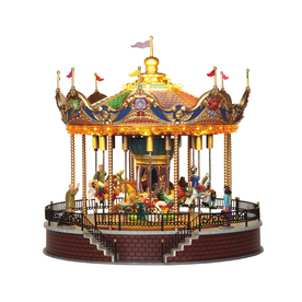 Carole Towne Christmas Plastic Lighted Musical Animatronic Sunshine Carousel Christmas Collectible