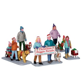 Carole Towne Christmas 5-Pack Resin Christmas Doggie Parade