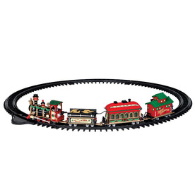 Carole Towne 16-Piece Plastic Lighted Musical Animatronic Yuletide Express Christmas Collectible