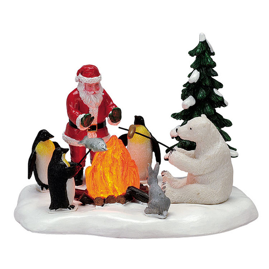 Carole towne resin lighted fireside fun christmas collectible at lowes