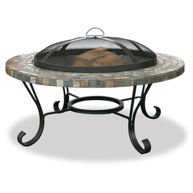 "UniFlame 34"" Steel Firepit with Slate Tile Surround"