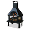 Black Steel Outdoor Wood-Burning Fireplace