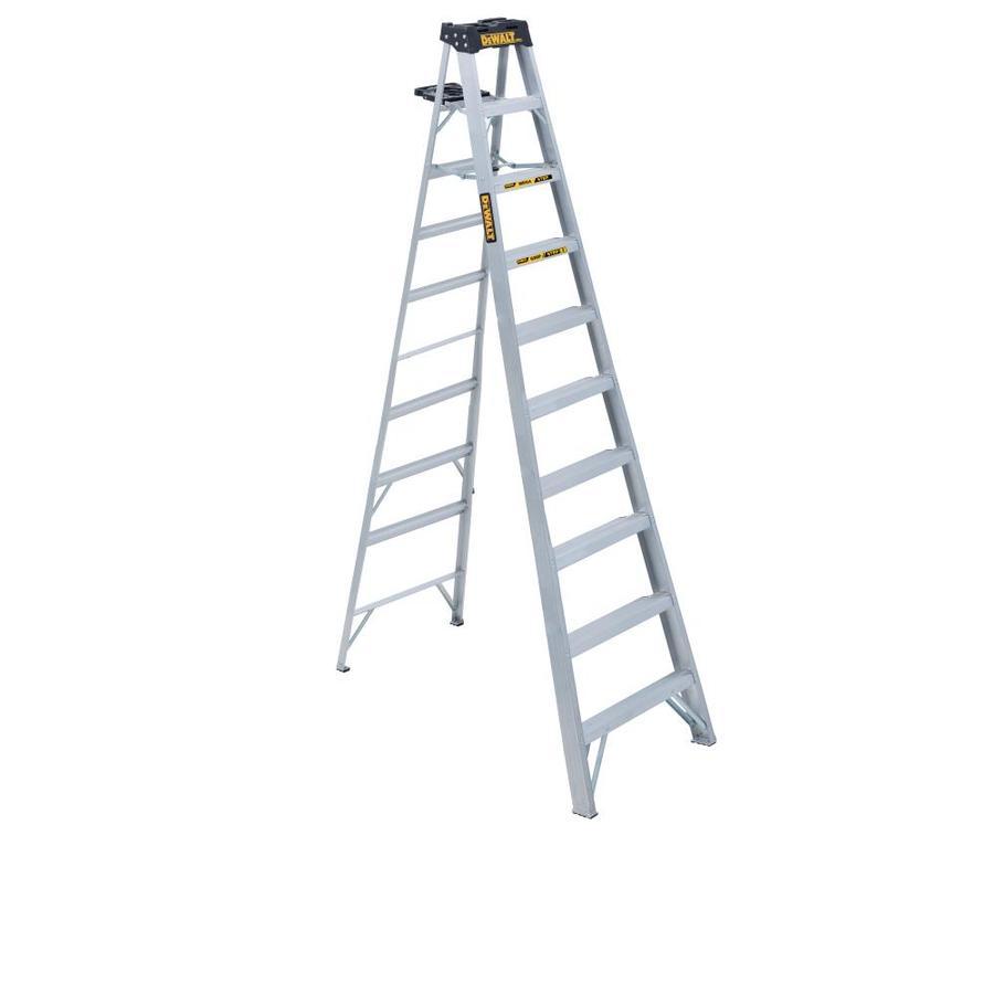 Shop dewalt 10 ft aluminum 300 lb type ia step ladder at lowes com