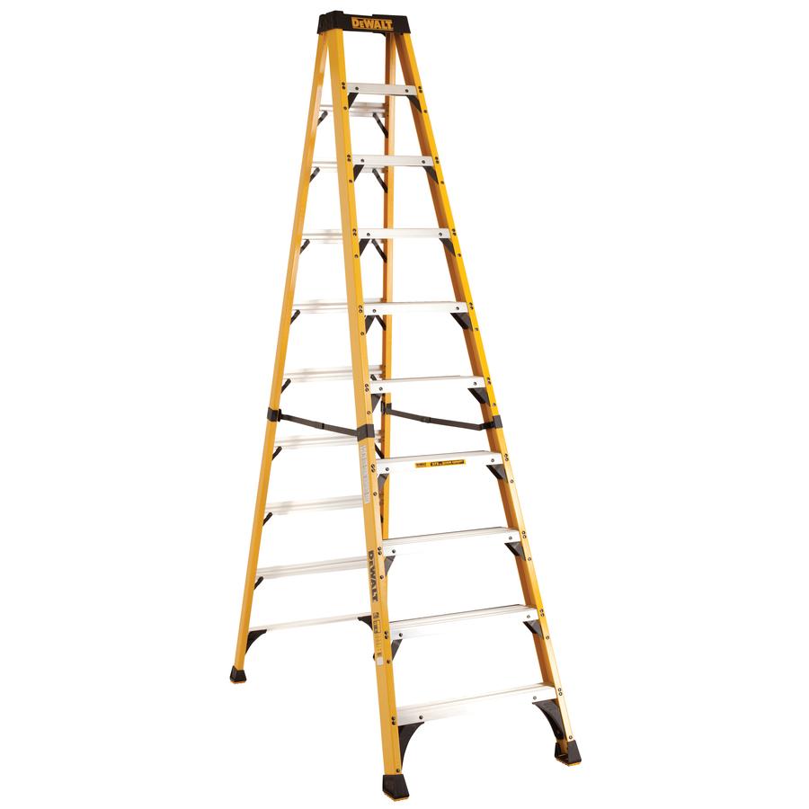 Shop dewalt 10 ft fiberglass 375 lb type iaa step ladder at lowes com