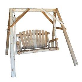 Lakeland Mills 2-Seat Wood Rustic Yard Swing