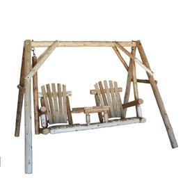 Lakeland Mills 2-Seat Wood Rustic Tete-A-Tete Swing
