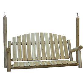 Lakeland Mills 3-Seat Wood Rustic Porch Swing