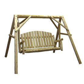 Lakeland Mills 3-Seat Wood Rustic Country Garden Yard Swing