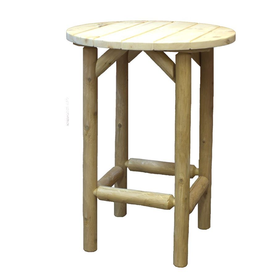 Shop lakeland mills 31 in natural cedar and pine round for Natural wood round table