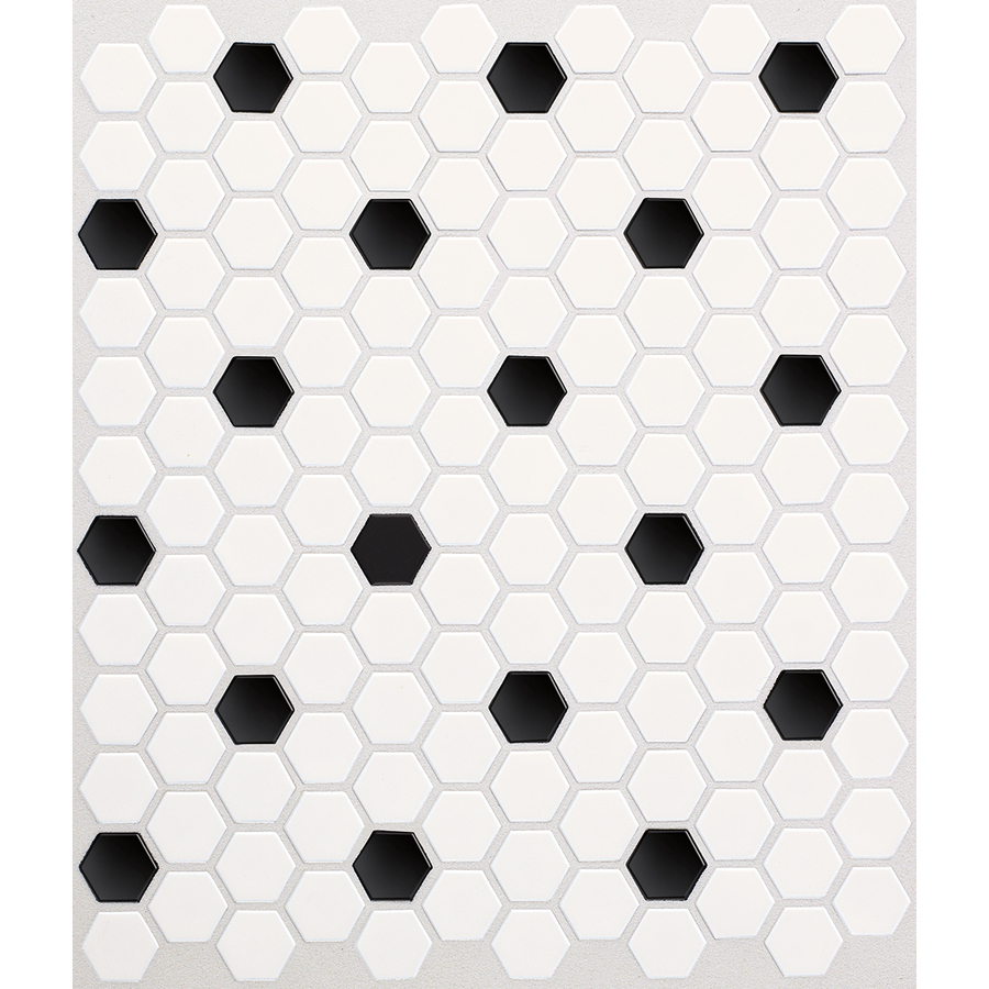 Hex Ice White With Black Dot Ceramic Mosaic Random Indoor Only Floor
