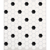 American Olean Satinglo Hex 10-Pack Ice White with Black Dot Mosaic Ceramic Floor Tile (Common: 10-in x 12-in; Actual: 10.5-in x 12.5-in)