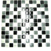 American Olean 12-in x 12-in Delfino Glass Black Magic Glass Wall Tile