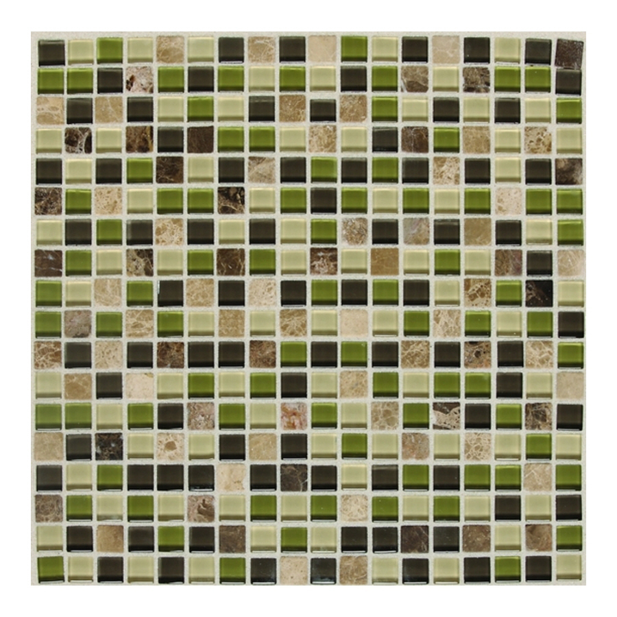 American Olean Legacy Glass Jungle Blend Mosaic Square Indoor Outdoor Wall Tile Common 12 In X Actual 11 87