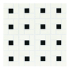 American Olean 10-Pack 12-in x 12-in Chloe Satin White with Gloss Black Dot Ceramic Mosaic Floor Tile