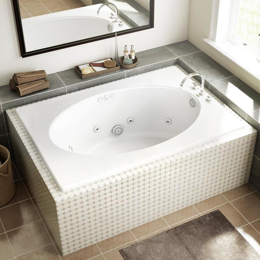 Shop Jacuzzi Primo White Acrylic Oval In Rectangle Whirlpool Tub Common 42