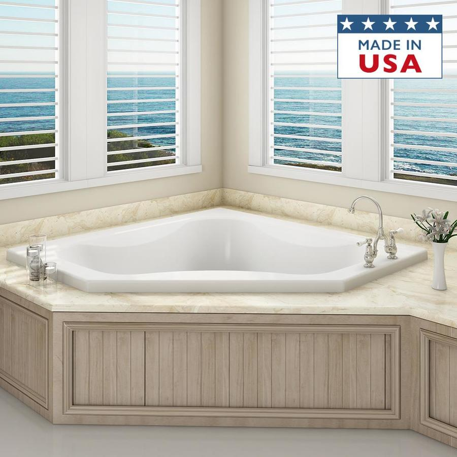 Shop jacuzzi primo white acrylic corner drop in bathtub for Drop in bathtub dimensions