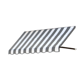 Awntech 6-ft 4-1/2-in Wide x 3-ft Projection Gray/White Striped Open Slope Window/Door Awning CR33-6GW