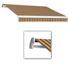 Awntech 12-ft Wide x 10-ft 2-in Projection Brown/Tan Striped Slope Patio Retractable Manual Awning