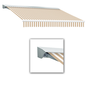 Awntech 16-ft Wide x 10-ft 2-in Projection Tan/White Striped Slope Patio Retractable Remote Control Awning