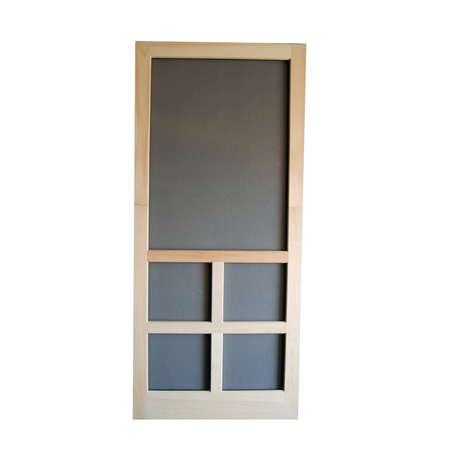 Shop screen tight fredrick natural wood screen door at for Lowes screen doors