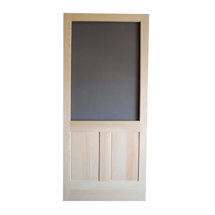 Shop screen tight pioneer natural wood hinged screen door for Wood screen doors