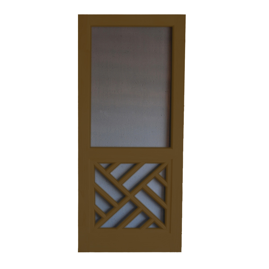 Shop screen tight chippendale oxford brown wood screen for Lowes screen doors
