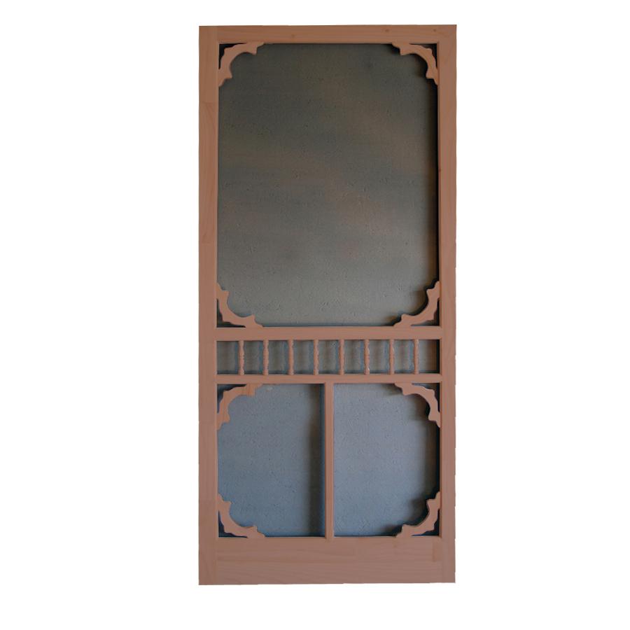 Shop screen tight colonial russet wood screen door common for Wood screen doors