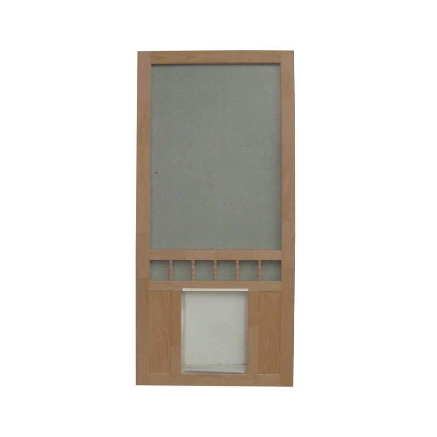 Shop Screen Tight Southport 30 In Russet Wood Screen Door With Pet Door At Lo