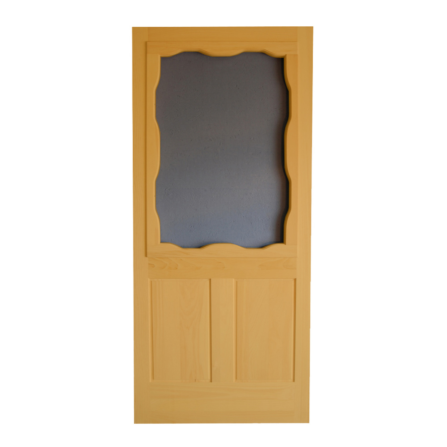 Shop screen tight wood screen door at for Front door screen doors lowes