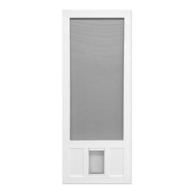 shop screen tight chesapeake white vinyl hinged screen door with pet door common 30 in x 80 in. Black Bedroom Furniture Sets. Home Design Ideas