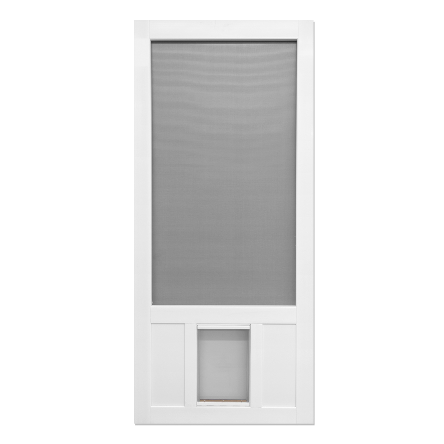 Shop Screen Tight Chesapeake White Vinyl Screen Door With Pet Door Common 3