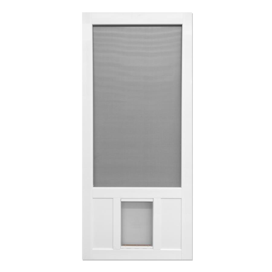 Shop Screen Tight Chesapeake White Vinyl Screen Door With Pet Door Common 3