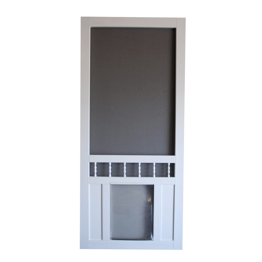 Shop Screen Tight Southport 36 In White Vinyl Screen Door With Pet Door At Lo