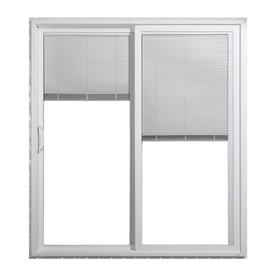 JELD-WEN 59.5-in Blinds Between the Glass White Vinyl Sliding Patio Door with Screen