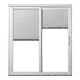 JELD-WEN 59.5-in Dual-Pane Blinds Between The Glass Vinyl Sliding Patio Door