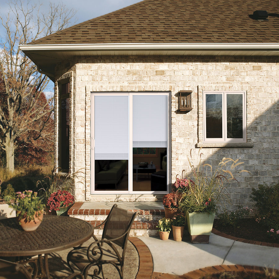 Shop JELD WEN 71 5 In Blinds Between The Glass Vinyl Sliding Patio Door With