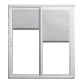 JELD-WEN 71.5-in Blinds Between the Glass White Vinyl Sliding Patio Door with Screen