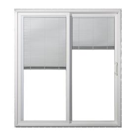 JELD-WEN 71.5-in Blinds Between the Glass White Vinyl Sliding Patio Door with Screen