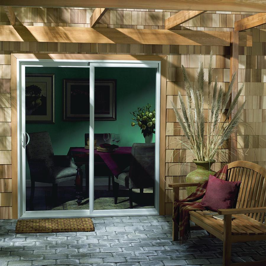 Shop jeld wen 71 5 in 1 lite glass vinyl sliding patio for Lowes sliding patio doors