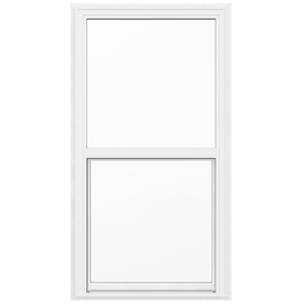 JELD-WEN V2500 Vinyl Double Pane Double Strength New Construction Egress Single Hung Window (Rough Opening: 34-in x 65-in; Actual: 33.5-in x 64.5-in)