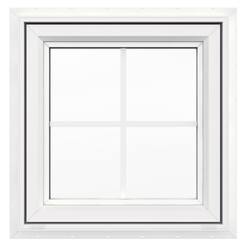 JELD-WEN V4500 Single Vinyl Double Pane Double Strength New Construction Awning Window (Rough Opening: 24-in x 24-in; Actual: 23.5-in x 23.5-in)