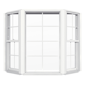 JELD-WEN V2500 Single-Hung Vinyl Double Pane Double Strength New Construction Bay Window (Rough Opening: 55.938-in x 49.5-in Actual: 55.438-in x 49-in)