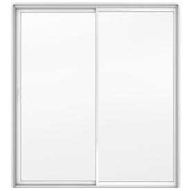 JELD-WEN Builders 59.5-in Clear Glass White Aluminum Sliding Patio Door