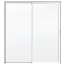 JELD-WEN Builders 59.5-in Clear Glass White Aluminum Sliding Patio Door