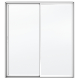 JELD-WEN Builders 71.5-in Clear Glass White Aluminum Sliding Patio Door