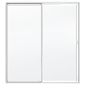 JELD-WEN Builders 71.5-in Clear Glass White Aluminum Sliding Patio Door