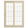 JELD-WEN V-4500 59.5-in 15-Lite Glass Vinyl Sliding Patio Door with Screen