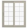 JELD-WEN V-4500 71.5-in 10-Lite Glass Vinyl Sliding Patio Door with Screen