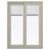 JELD-WEN V-4500 59.5-in Blinds Between the Glass Desert Sand Vinyl Sliding Patio Door with Screen